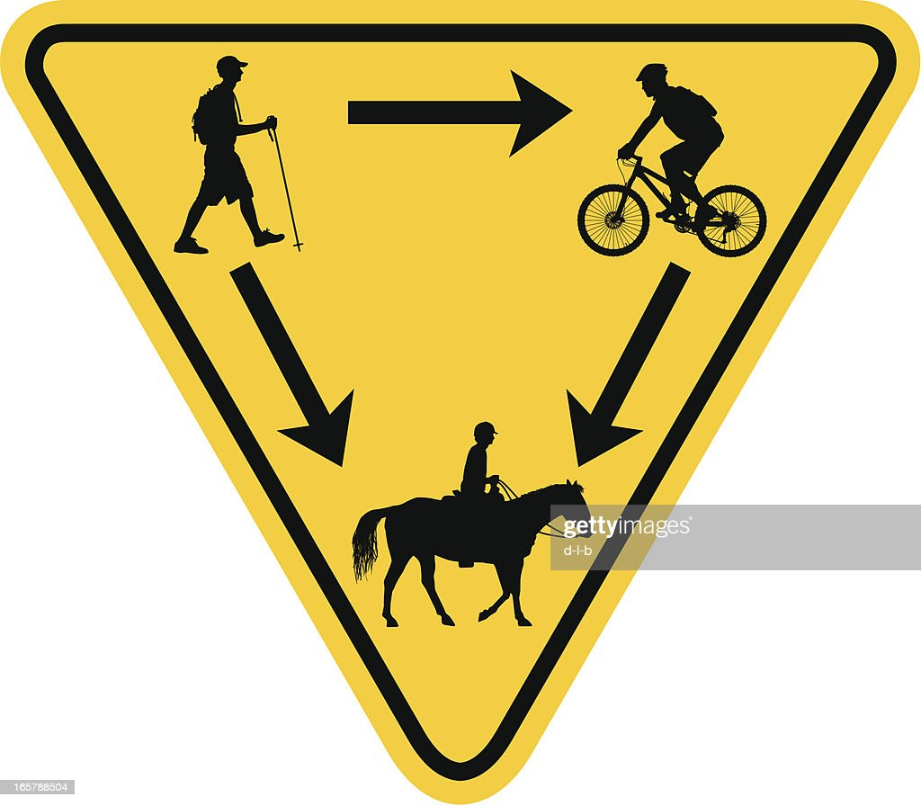 Rules of the Trail Yield Sign Hiker, Biker, Horse Rider