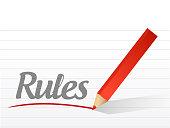 rules written on a white paper illustration design