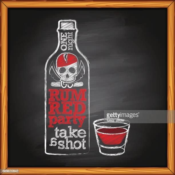 rum bottle and shot on blackboard - vodka stock illustrations, clip art, cartoons, & icons