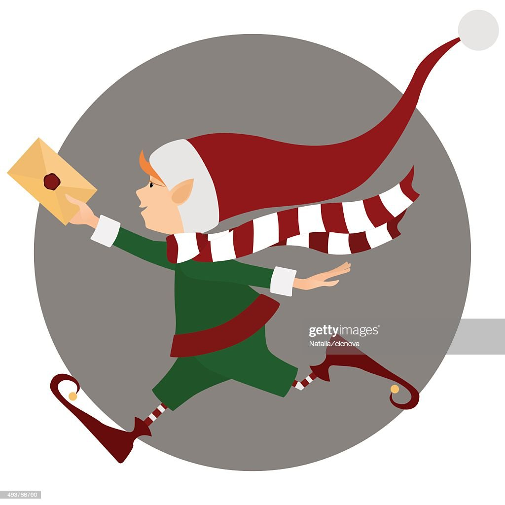 Runing Christmas elf with letter