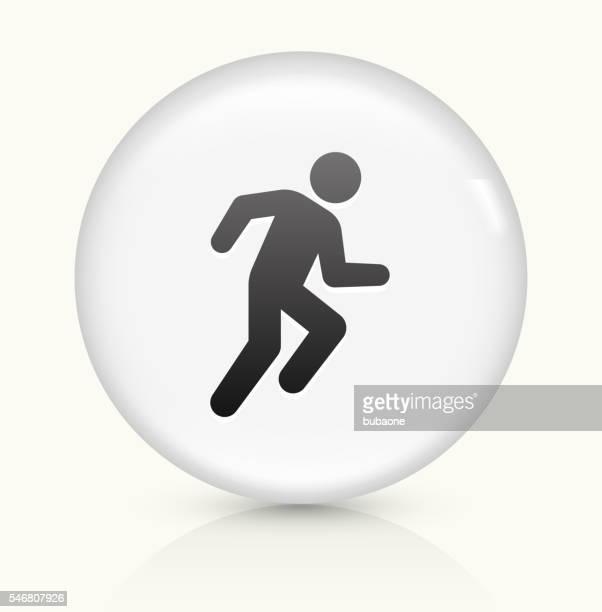 stockillustraties, clipart, cartoons en iconen met runner athlete icon on white round vector button - military
