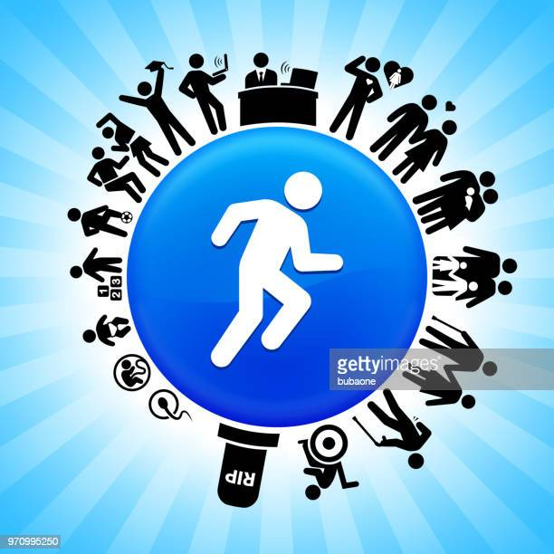 runner athlete lifecycle stages of life background - disability stock illustrations, clip art, cartoons, & icons