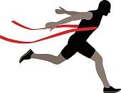 Runner crossing the finish line, vector illustration