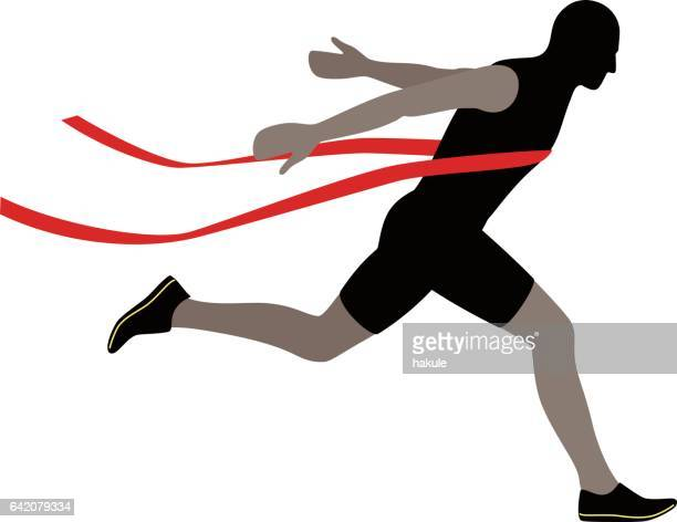 Runner crossing the finish line, vector illustration