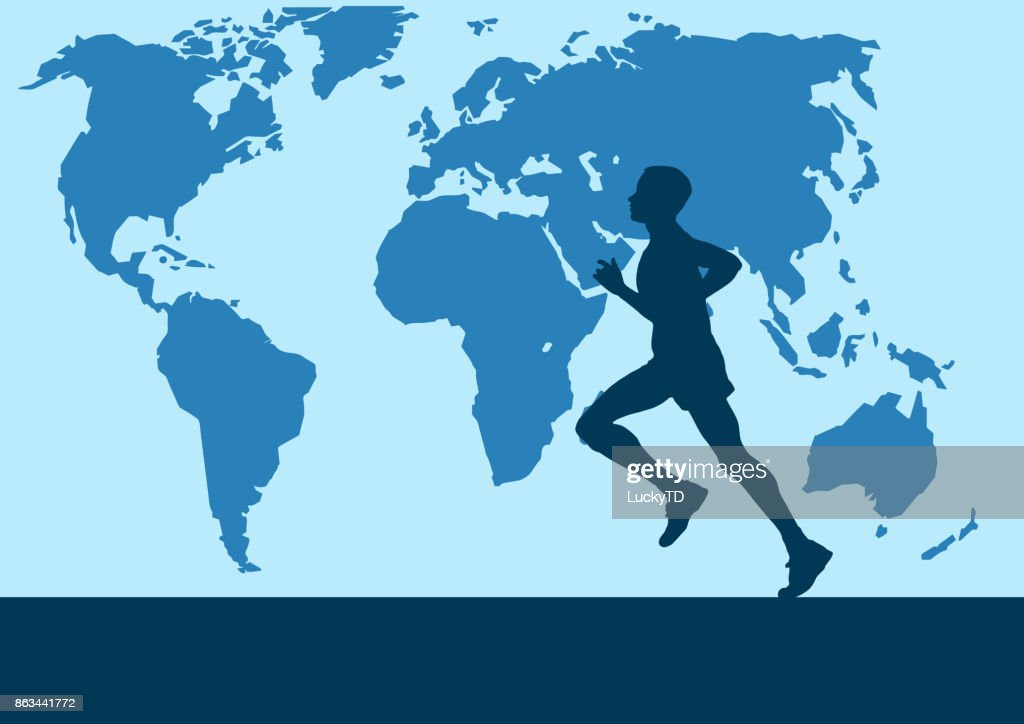 Runner in the world map vector poster background vector art getty runner in the world map vector poster background vector art gumiabroncs Choice Image
