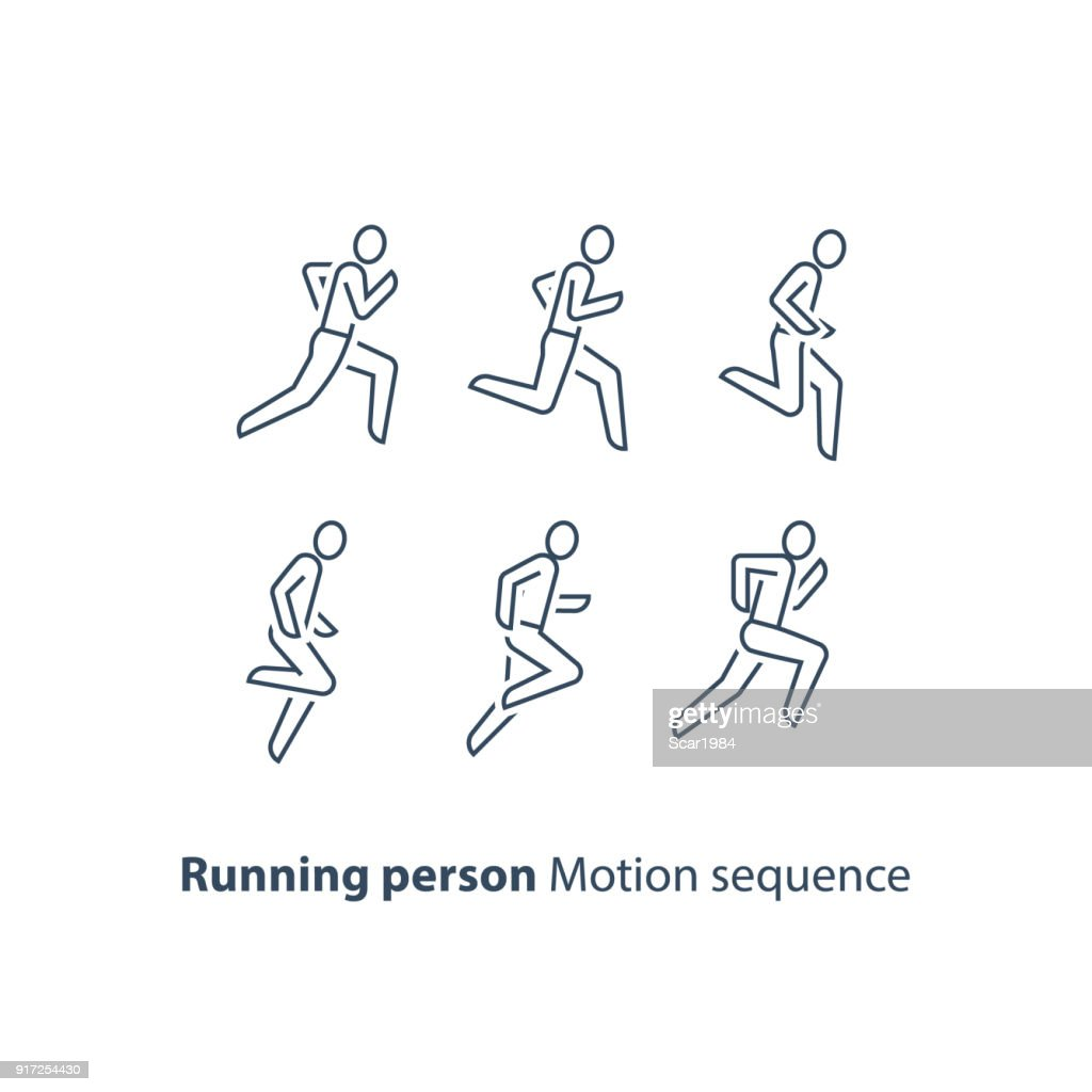 Runner , running person line icon, motion sequence set, marathon and triathlon concept