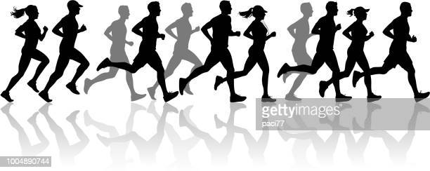 runner silhouette - running stock illustrations