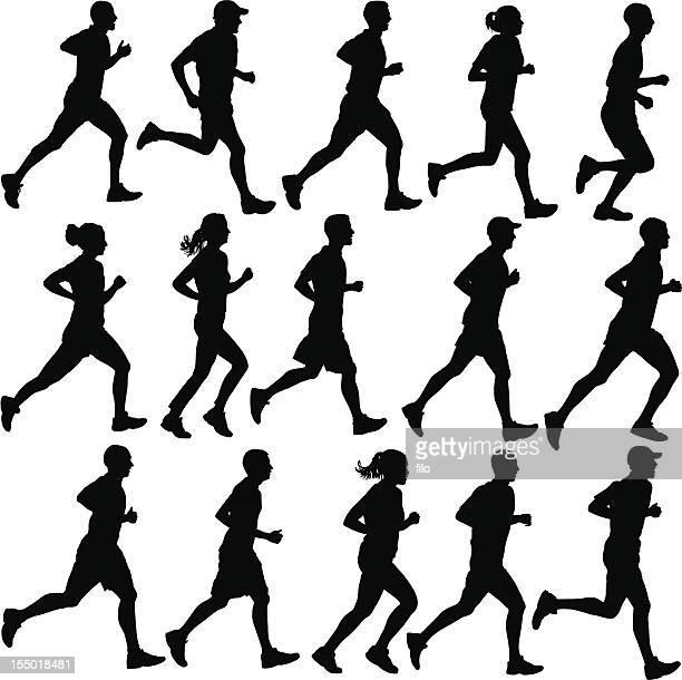 runner silhouettes - jogging stock illustrations, clip art, cartoons, & icons