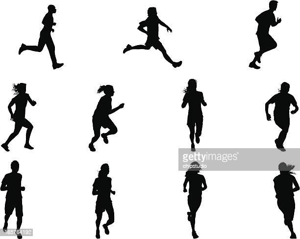 runner silhouettes - 5000 meter stock illustrations