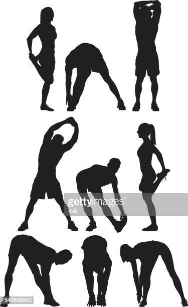 runner stretching - stretching stock illustrations, clip art, cartoons, & icons
