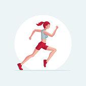 Runner woman vector illustration