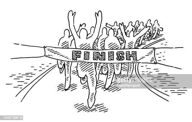 runners finish line drawing - the end stock illustrations
