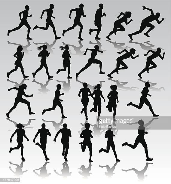 runners, joggers, sprinters - male and female - track and field stock illustrations, clip art, cartoons, & icons