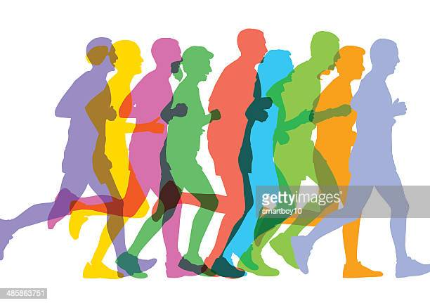 runners sillhouettes - jogging stock illustrations, clip art, cartoons, & icons