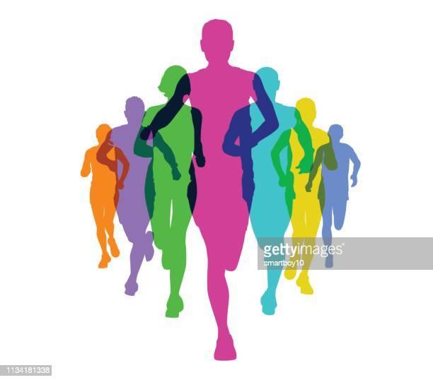 runners - jogging stock illustrations, clip art, cartoons, & icons