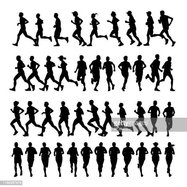 läufer - sprint sport wettbewerbsform stock-grafiken, -clipart, -cartoons und -symbole