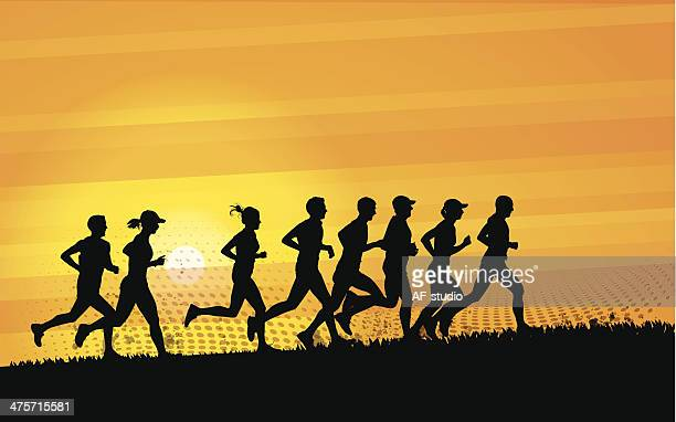 runners - track event stock illustrations