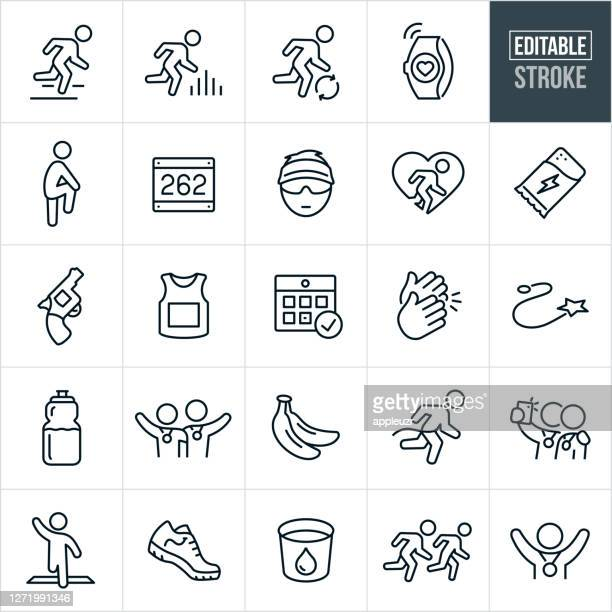 running and marathon thin line icons - editable stroke - jogging stock illustrations