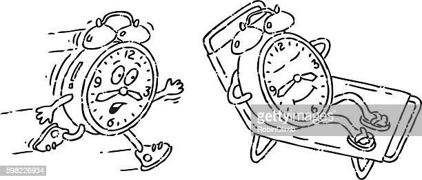 Running And Relaxing Clock Doodles