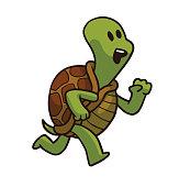 Running animals, cute green-brown turtle