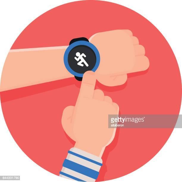 ilustrações, clipart, desenhos animados e ícones de execução app relógio inteligente - relógio de pulso