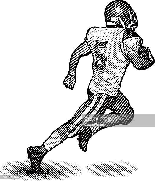 running back scoring touchdown - traditional sport stock illustrations, clip art, cartoons, & icons