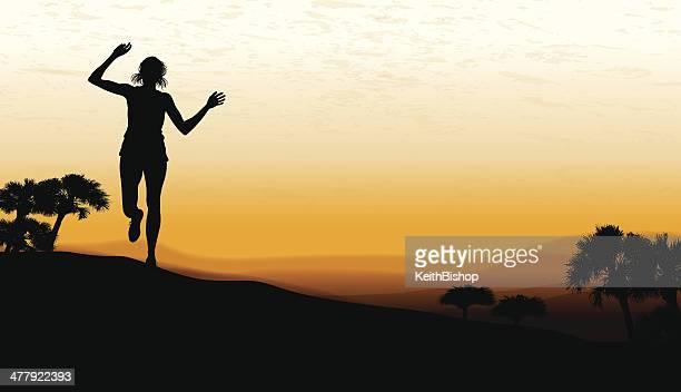 ランニングの背景-ビクトリー女性 - 内陸部の岩柱点のイラスト素材/クリップアート素材/マンガ素材/アイコン素材