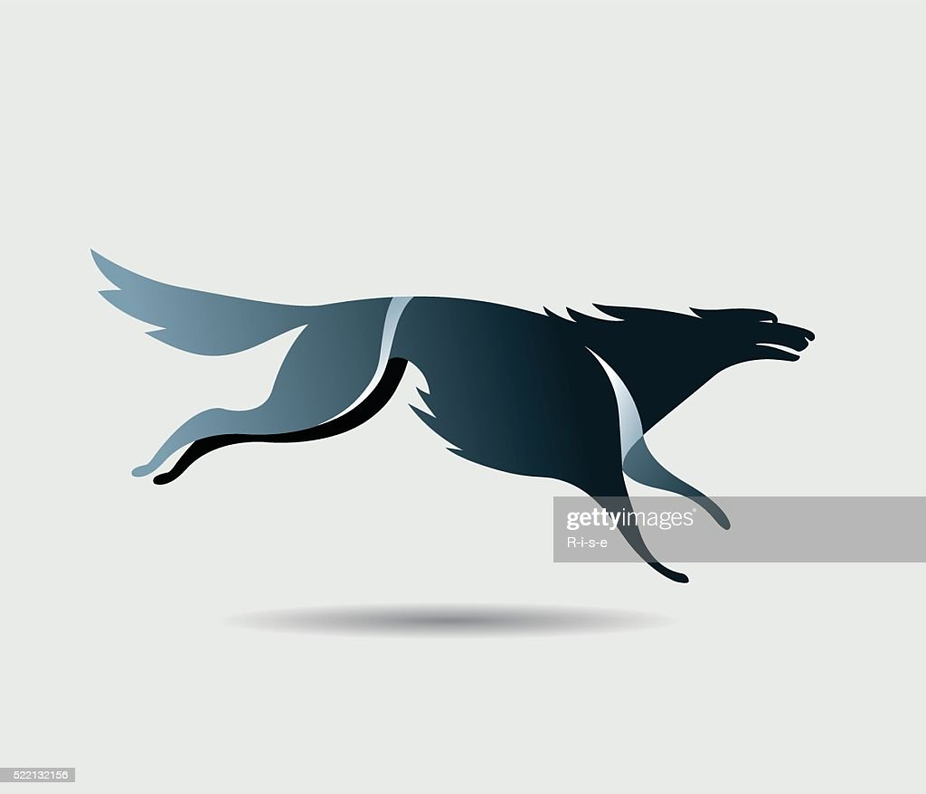 Running Black wolf icon