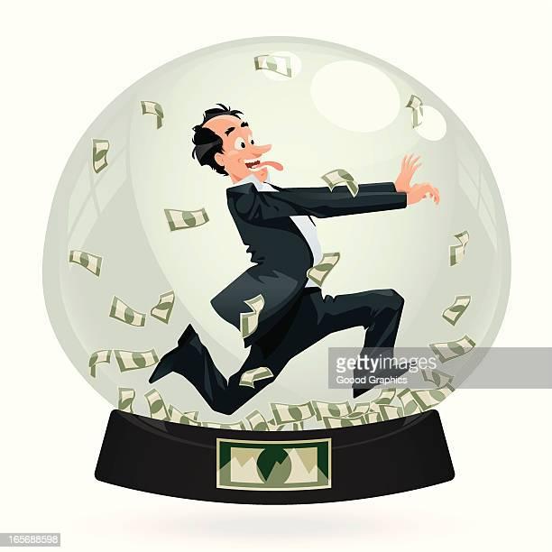 running businessman in snowglobe - spending money stock illustrations, clip art, cartoons, & icons