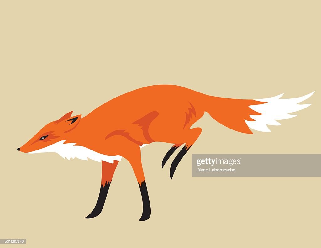It is a graphic of Remarkable Running Fox Drawing