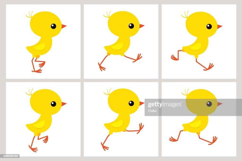 Running chicken animation sprite sheet isolated on white background
