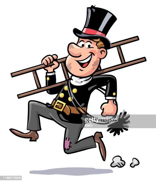 running chimney sweep - schornsteinfeger stock-grafiken, -clipart, -cartoons und -symbole