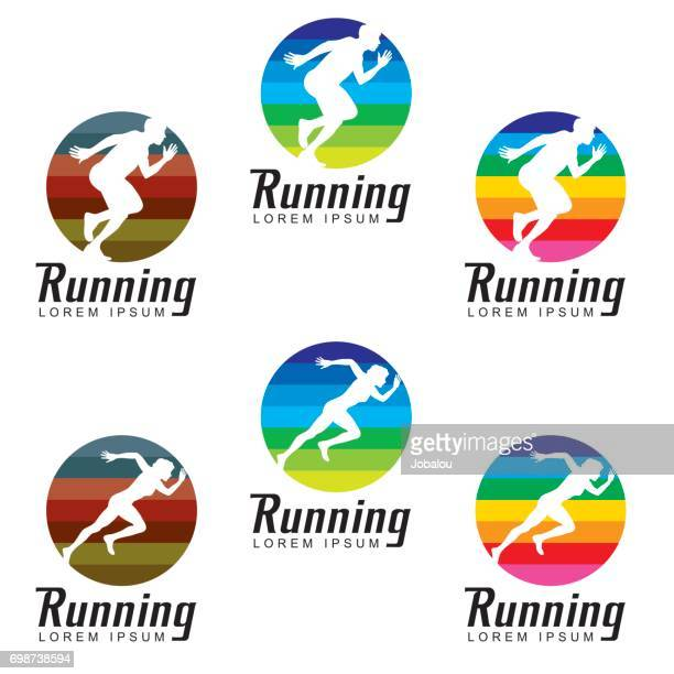 running clip art symbol - sport set competition round stock illustrations
