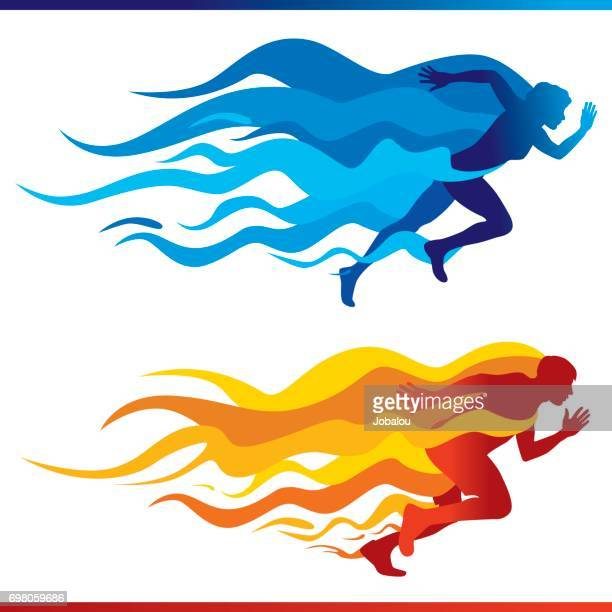 Running Colorful Flames