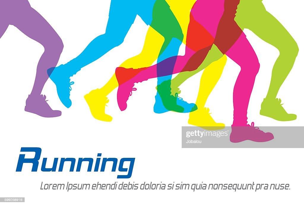 Running Colorful Silhouettes : Ilustración de stock
