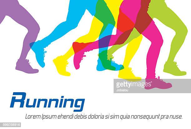 running colorful silhouettes - track and field stock illustrations, clip art, cartoons, & icons