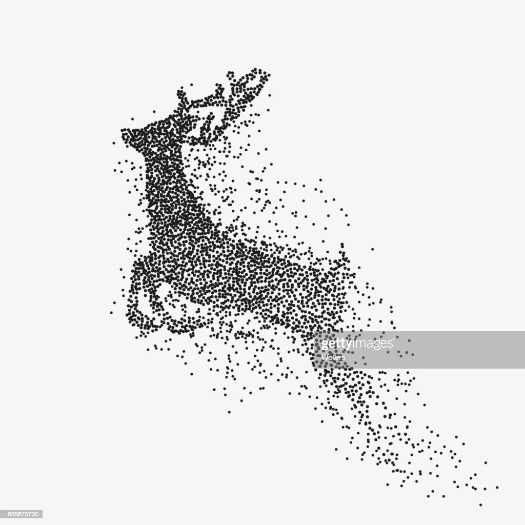Running deer black particles divergent silhouette
