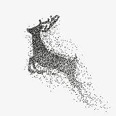Running deer black particles divergent silhouette
