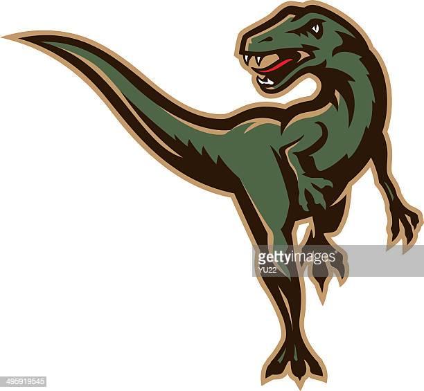 running dinosaur - bird of prey stock illustrations, clip art, cartoons, & icons