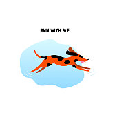 Running dog concept. Cartoon charming puppy with lettering isolated on white background in flat style