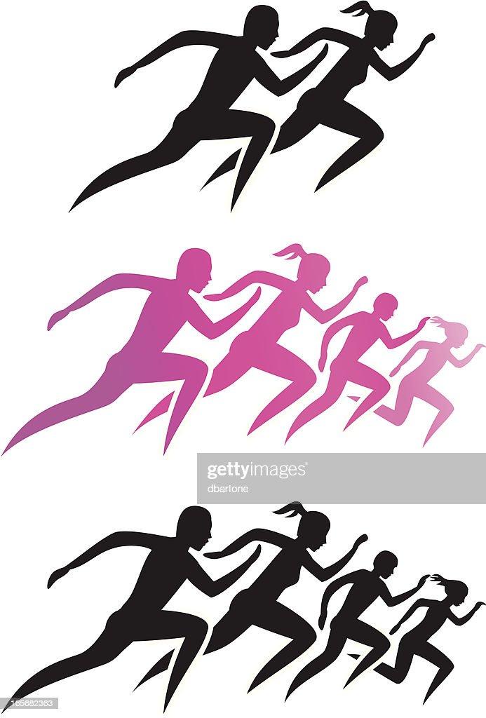 Running Family/Running man and woman