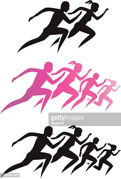 running family/running man and woman - track event stock illustrations