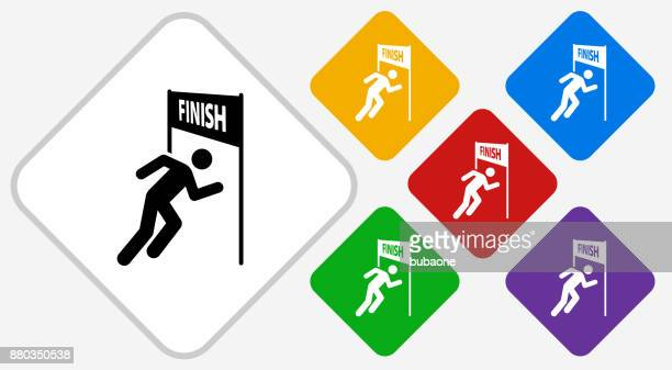 Running Finish Line Color Diamond Vector Icon