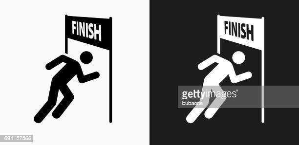 running finish line icon on black and white vector backgrounds - sport set competition round stock illustrations