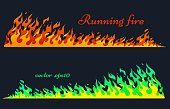 Running fire, vector flame elements