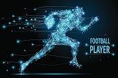 Running footballer polygonal