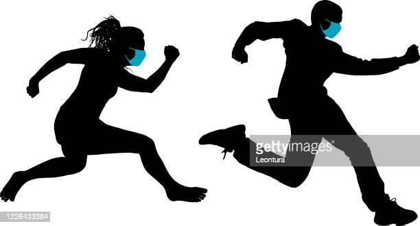 laufen von covid-19 - sprint sport wettbewerbsform stock-grafiken, -clipart, -cartoons und -symbole