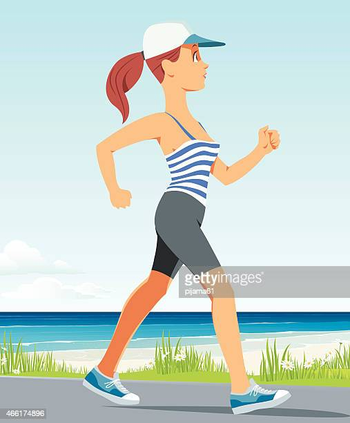 running girl - racewalking stock illustrations, clip art, cartoons, & icons