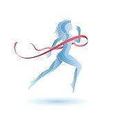 Running girl with ribbon
