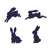 Running hare vector silhouette isolated on white background